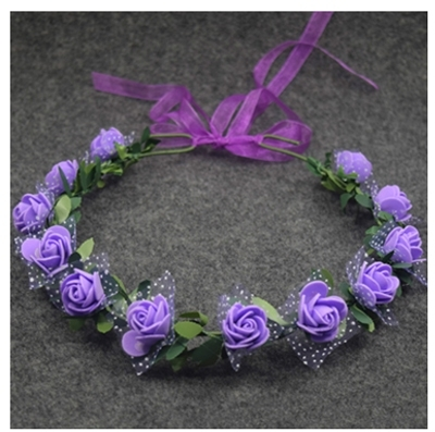 веночек на голову с сиреневыми розами фото