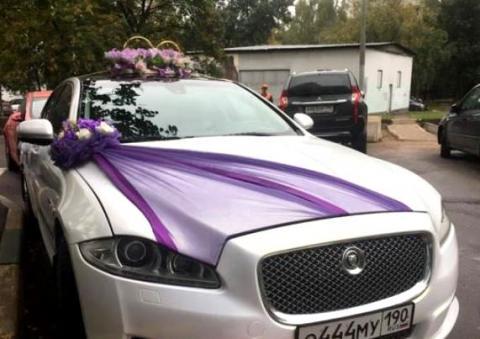 ярко-фиолетовый комплект на свадебную машину