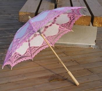 кружевной зонт розовый купить