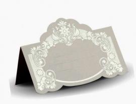 банкетная карточка белая с серебром