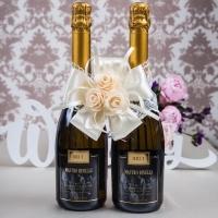 бант айвори на две бутылки шампанского фото