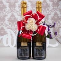 Банты для украшения шампанского на 2 бут. Цвет- красный. 000545