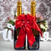 """Банты на 2 бутылки шампанского""""Розочки"""". Цвет - красный. 000539"""