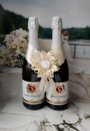 """Банты на свадебное шампанское айвори, коллекция """" Воздушные отношения"""" 004437"""