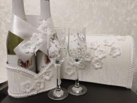 Белый свадебный набор 4 элемента СУПЕРЭКОНОМ 200045