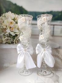 свадебные бокалы белые купить