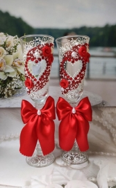 """Бокалы свадебные красные """"Влюбленные сердца"""" 23см 2 шт.002569"""
