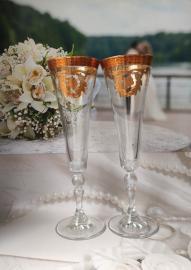 свадебные бокалы кубки золото