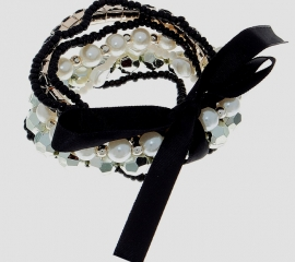 браслет черно-белый жемчужный