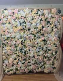 цветочная фотозона в теплых оттенках розовый, айвори, белый, бежевый