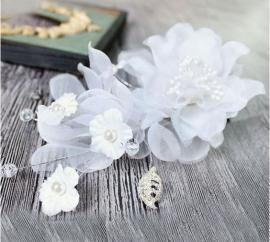 """Цветок из органзы для свадебной прически """"Анна"""" 002562"""