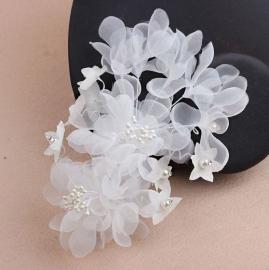 """Цветы из органзы для свадебной прически """"Катрин"""" 001254"""