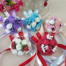 """Цветы на руку подружкам Невесты """" Голубой букет"""" 002521"""