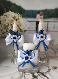 """Домашний очаг сине-белые: комплект 3 шт.  Свадебный набор """"Восторг"""" 09047"""