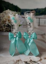 Фужеры свадебные тиффани с розами 2шт. 002127