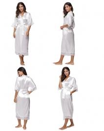 Халат Невесты белый удлиненный  белый с кружевами р.42-46 02019