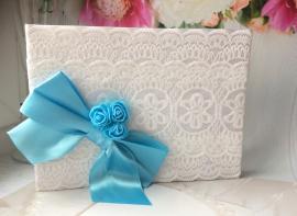 Книга для пожеланий на свадьбу белая гипюровая с бантом и цветами распродано 100116
