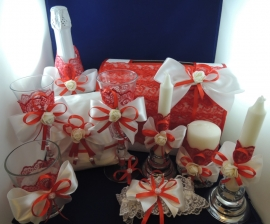 красно-белая свадьба комплект аксессуаров на свадьбу