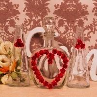 Комплект для песочной церемонии из 3 сосудов с сердцем из роз, ЛЮБОЙ цвет роз 000922