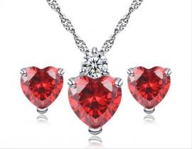 Комплект ежедневной бижутерии с красными сердечками: цепочка, подвеска, серьги  000390