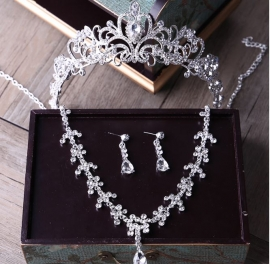 """Комплект свадебной бижутерии """" Элегия"""": корона, колье, серьги 100244"""