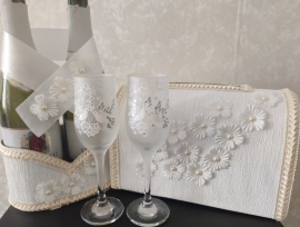 Комплект свадебных принадлеженостей айвори ЭКОНОМ  4 элемента 001964