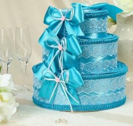 Коробка для денег на свадьбу торт 3 яруса бирюзовый 004253