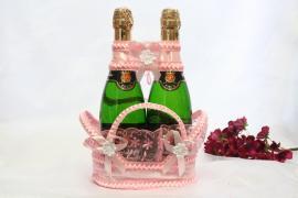 розовые корзиночки для свадебного шампанского фото