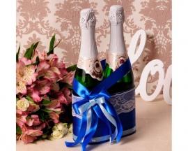 Корзиночка для свадебного шампанского синяя 001204