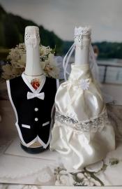 Костюмы на шампанское: айвори платьице,черный фрак. 000530