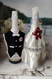 """Костюмы на шампанское: белое платьице с декором марсала, черный фрак. Коллекция """" Разноцветные фантазии"""" 000512"""