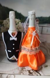 """Костюмы на шампанское: оранжевое платьице, черный фрак. """"Разноцветные фантазии"""" 000526"""