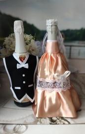 """Костюмы на шампанское: персиковое платье, черный фрак """"Разноцветные фантазии"""" 000533"""
