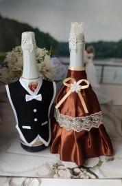 """Костюмы на шампанское: платье шоколадное, фрак черный """"Разноцветные фантазии"""" 000532"""