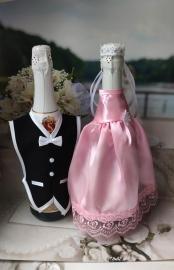 """Костюмы на шампанское: розовое  платьице, черный фрак. """"Разноцветные фантазии"""" 000529"""