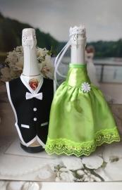 """Костюмы на шампанское: зеленое  платьице,черный фрак. """"Разноцветные фантазии"""" 000528"""