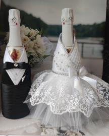 """Костюмы на свадебное шампанское """" Кружевной Шик"""" белый, черный  001785"""