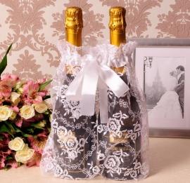 Кружевной мешочек на шампанское айвори 100064