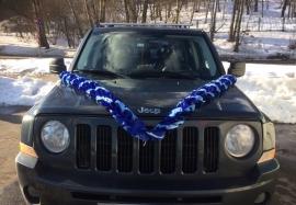 Лента на машину синий-голубой-синий 3м, ширина 10 см, атлас 002606