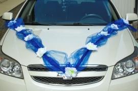 лента на машину синяя с белыми розами купить