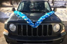 Лента на машину ярко-синяя-серебристая-ярко-синяя 002623