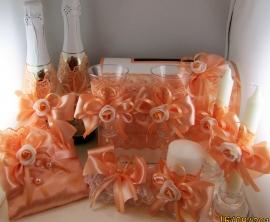 набор свадебных аксессуаров персиковый купить