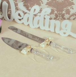 нож и лопатка для свадебного торта айвори