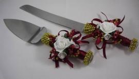 нож и лопатка для торта бордовые