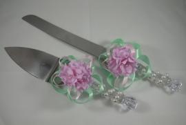 мятно-розовая свадьба приборы для торта