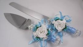 нож и лопатка для торта голубые купить