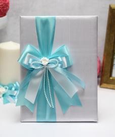 """Обложка для свидетельства о браке с голубым бантом """"Римма"""" А4 002887"""