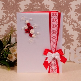 папка для свидетельства о браке с красным декором фото