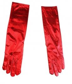перчатки красные лаковые длинные