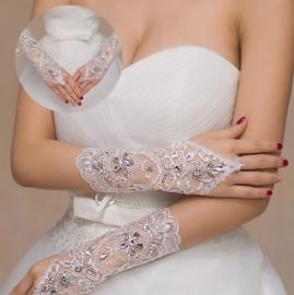 Перчатки свадебные длинные без пальцев, с петелькой, кружевной вставкой 001619